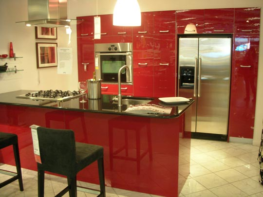 Green gray kitchen tile. whitehaven red kitchens love em or not ...