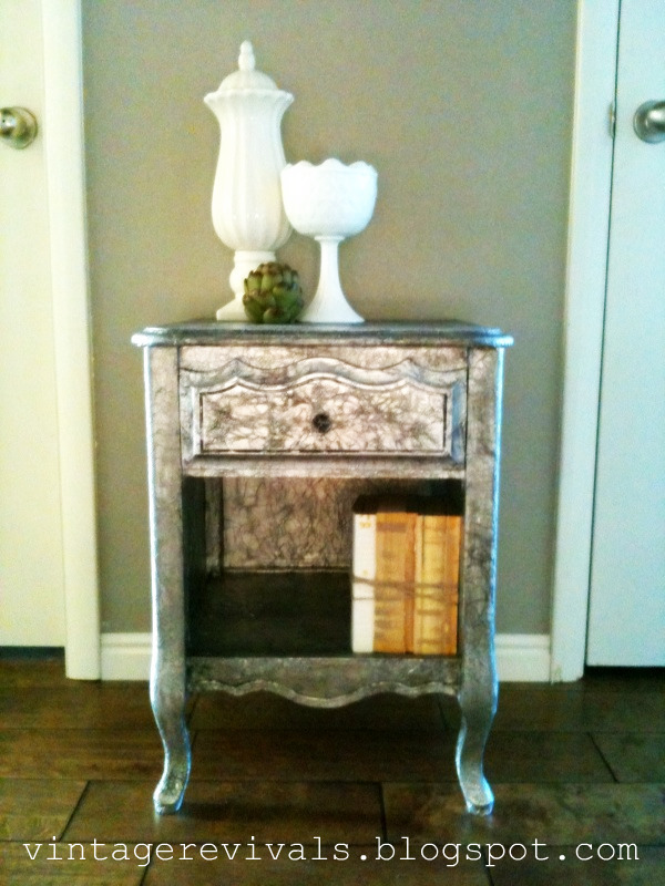 Remodelaholic refinished nightstand with tin foil for How to build a nightstand from scratch