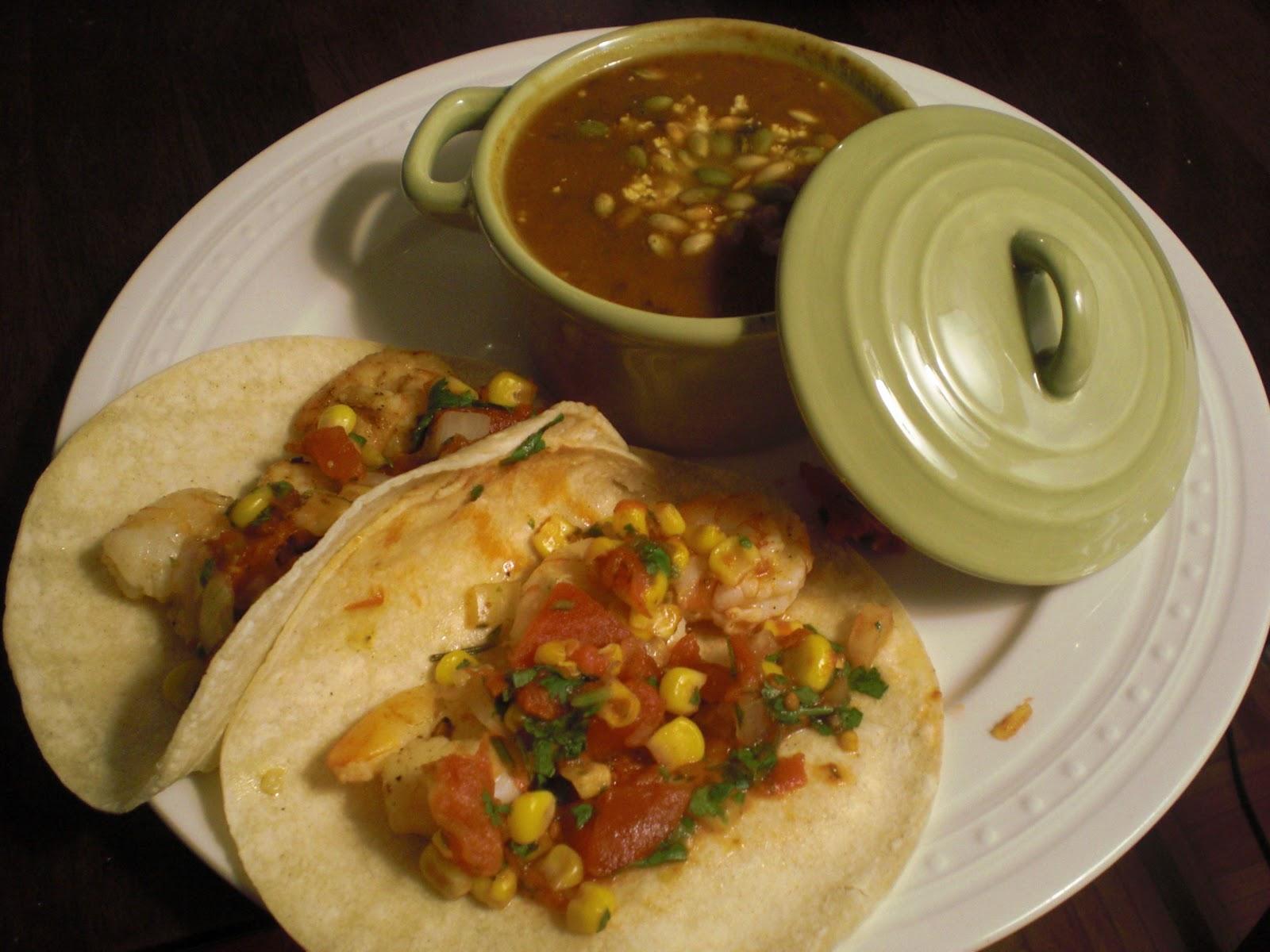 Pumpkin Black Bean Soup and Shrimp Tacos with Corn-Tomato