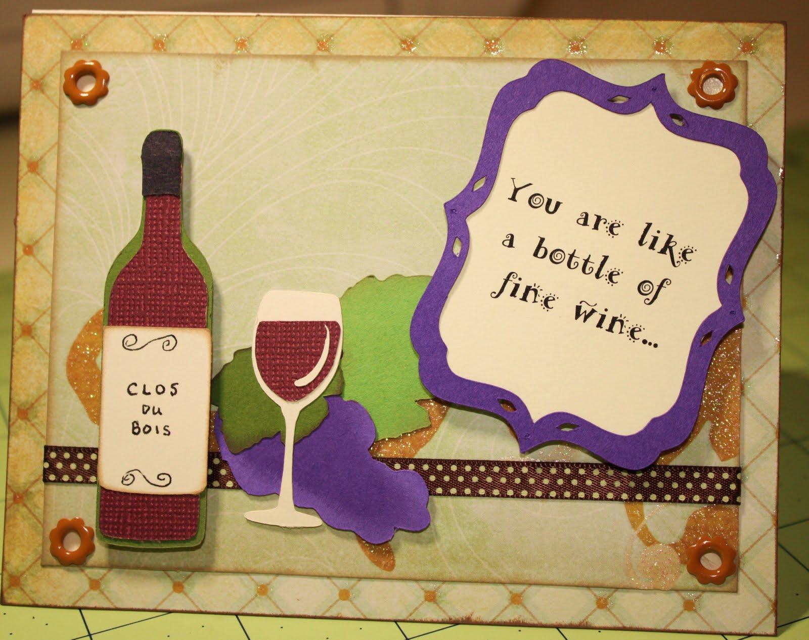 A Techy Teacher With A Cricut Wine Bottle Birthday Card