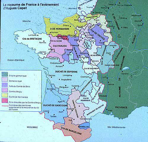 Map France 987.Arnaud On France Tours French Kingdom At Beginning Of Hugues