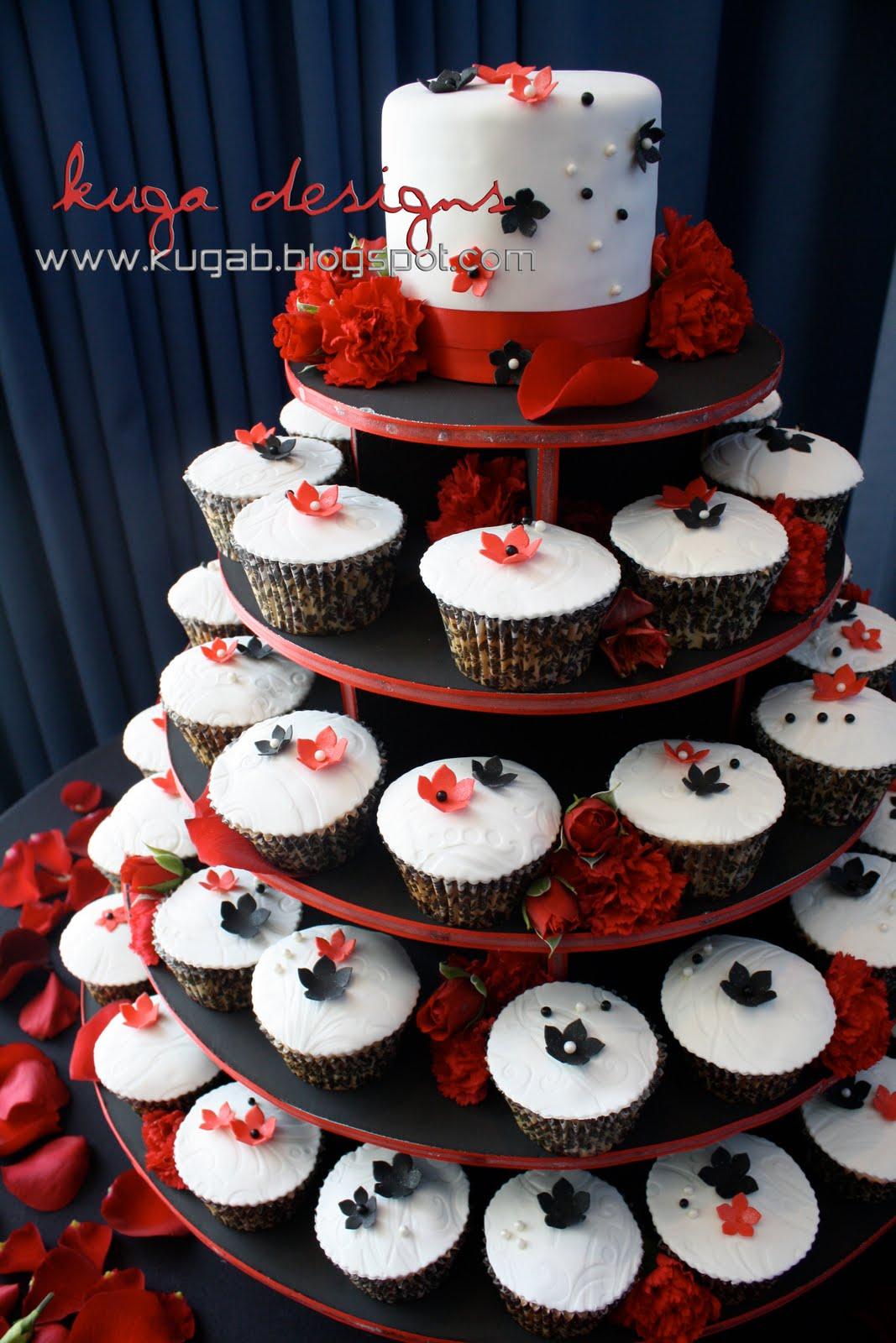 Kuga Designs Red Black And White Damask