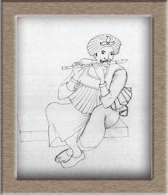 Pencil sketch rajasthani man playing flute