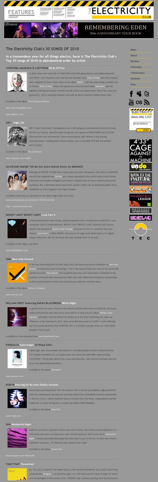 Supermagic included in the Top 30 Electro songs of 2010!