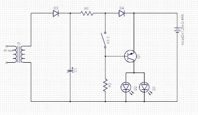 CONTOH RANGKAIAN ELEKTRONIKA RANGKAIAN AUTOMATIC EMERGENCY LIGHTING UNITS + LAYOUT PCB