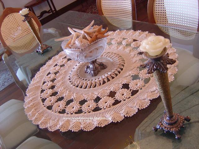 Falando de crochet centro de mesa de croche crochet - Centro de mesa a crochet ovalado ...