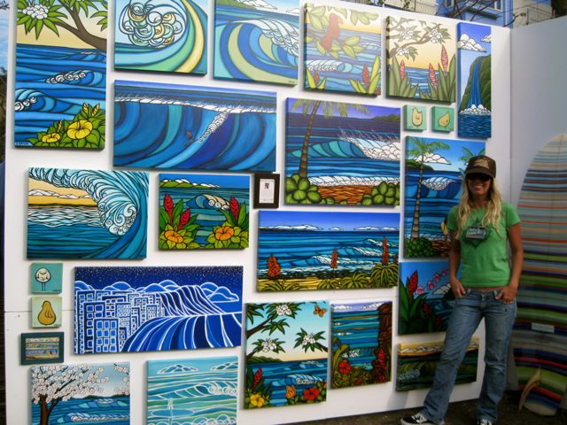 608ab1a625 Heather Brown Standing on front of her surf art display at Kaneyo in Japan  for Art on The Beach