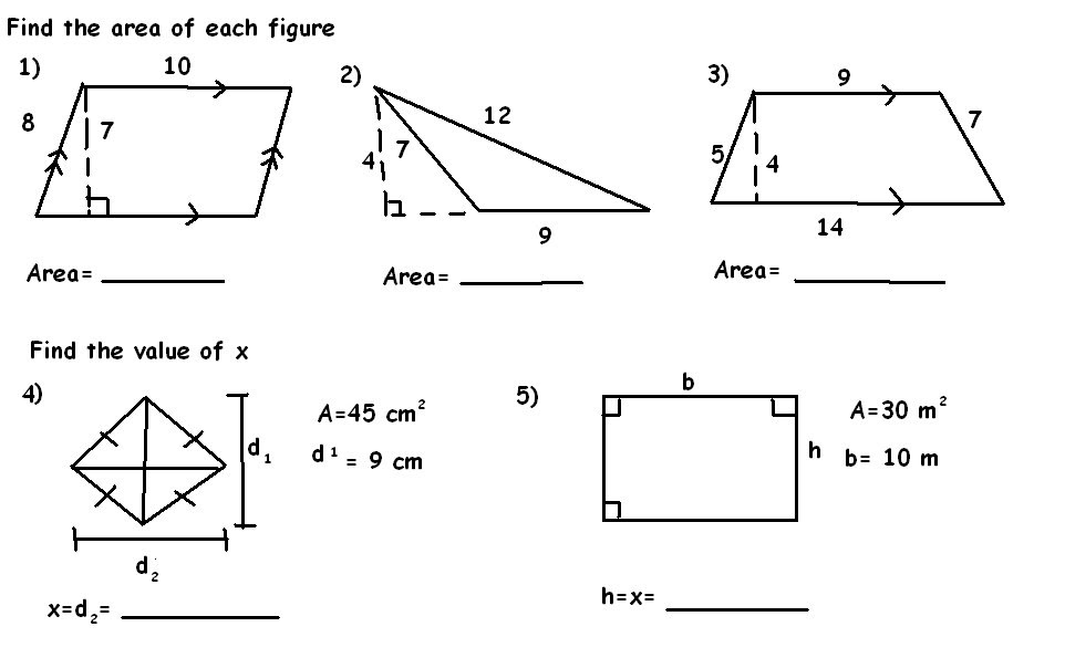 Polygonmania: 6.7: Areas of Triangles and Quadrilaterals