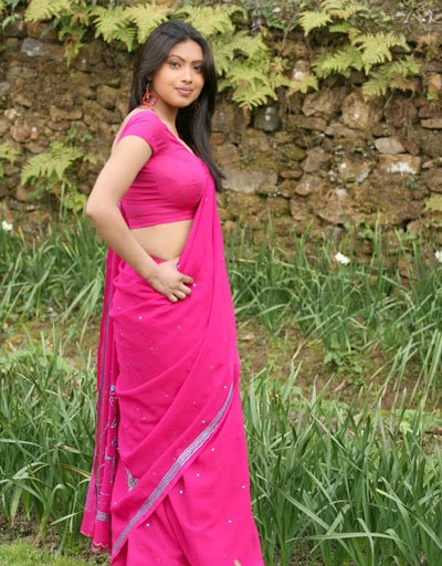 Srijana in Pink Saree Spicy Photo Gallery