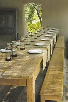 Long rustic farmhouse dining tables and skinny farm benches. European Farmhouse and French Country Decorating Style Photos. #frenchcountry #diningroom #rusticdecor #provence #europeanfarmhouse