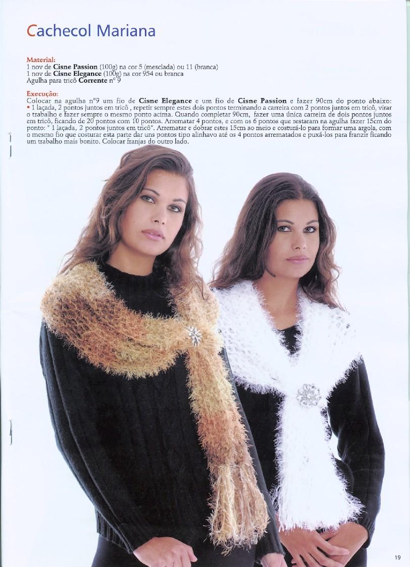 Cachecol Mariana Cisne Passion e Elegance em tricô.  pag 1   18-744119.jpg  5265de49993