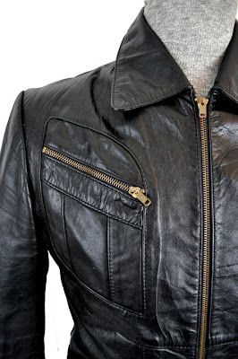 Goodbye Heart Vintage 1970s Black Leather Jacket