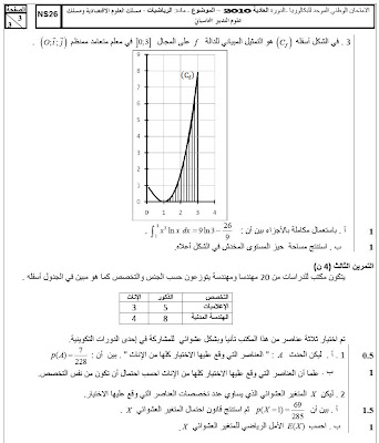 اختبار مادة الرياضيات شعبة علوم الاقتصاد والتدبير