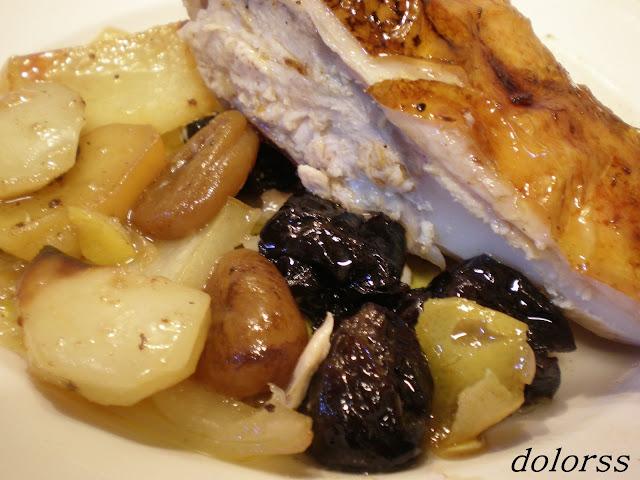 Receta de pollo relleno de frutas al horno
