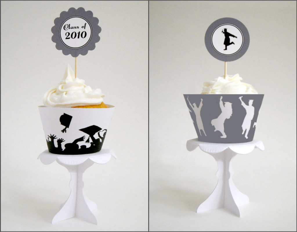 photograph about Printable Graduation Decorations named Easily Silhouettes: Totally free Printable Commencement Cupcake
