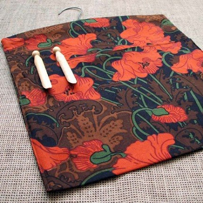 peg bag with poppy design
