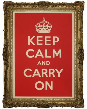framed poster that says Keep Calm and Carry On