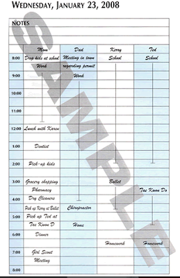 Family Daily Planner - sample page