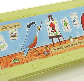 pencil box; brid with paint brush in its beak