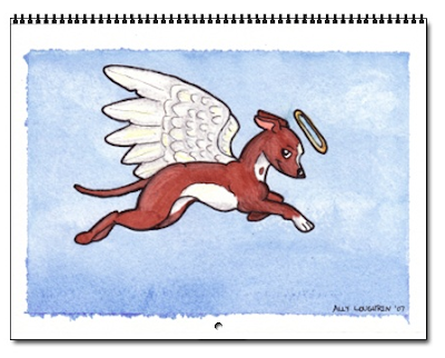 calendar cover with drawing of greyhound angel