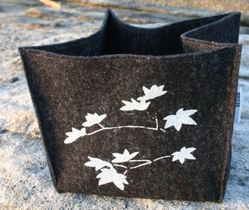 gray felt box with leaf design in white