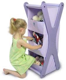 lavender storage tower with cotton shelves