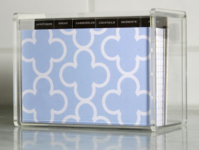 lucite recipe box with patterned dividers