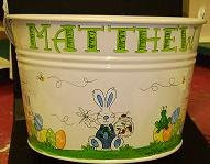 Easter bucket with bunny and eggs