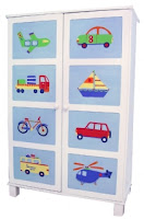 painted wardrobe with pictures of cars, boat, bicycle, airplane, truck, helicopter