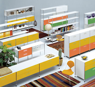 Vitra - Transphere cabinets in yellow, orange and green