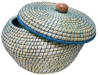 bawn grass basket threaded with royal blue