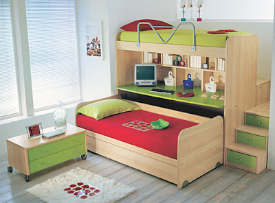 bunk bed with lower trundle and storage