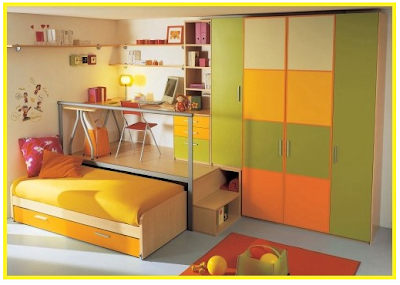 trundle bed / desk combination with color-coordinated wardrobe