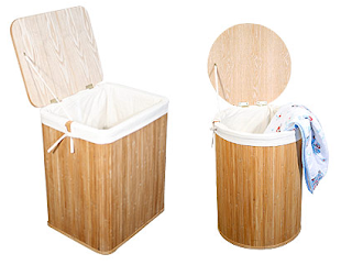 bamboo hampers, round and rectangular