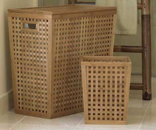 bamboo hamper and wastebasket