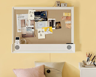 bulletin board with built-in MP3 speakers