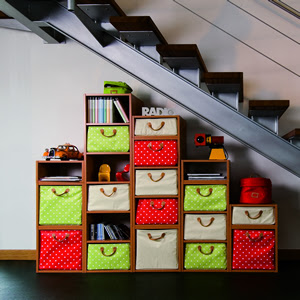 Lazzari modular shelving under stairs / staircase