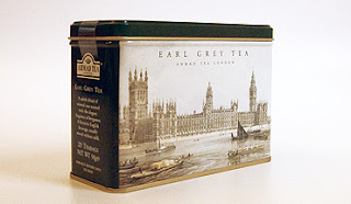 tea tin with London scene