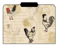 file folder with French chickens