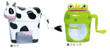 cow and frog hand-cranked paper shredders