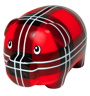piggy bank in tartan plaid