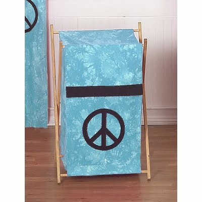laundry hamper, blue, with peace sign
