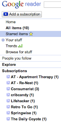list of blog subscriptions, in Google Reader
