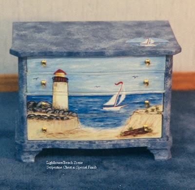 miniature dollhouse chest with nautical theme