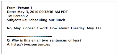 two-sentence email reply