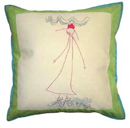 pillow with imagine from child's drawing
