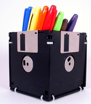 pencil cup made from floppy disks
