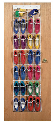 over-the-door shoe organizer filled with shoes
