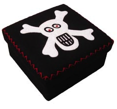 square black felt box with smiling skull
