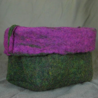 green and purple felt box
